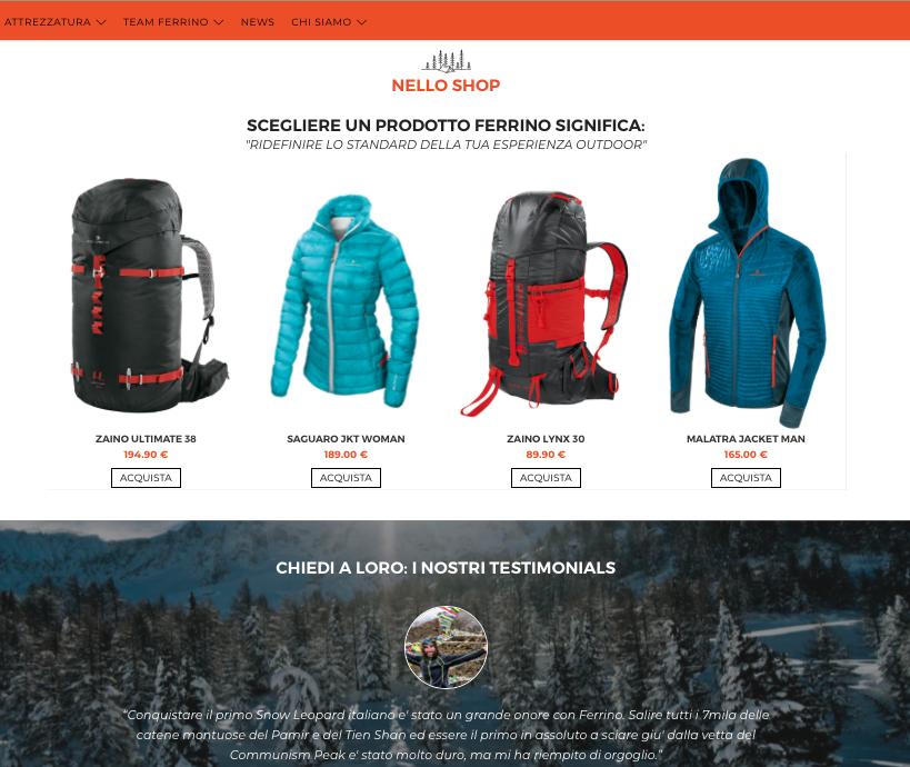 Online il nuovo portale web Ferrino 2