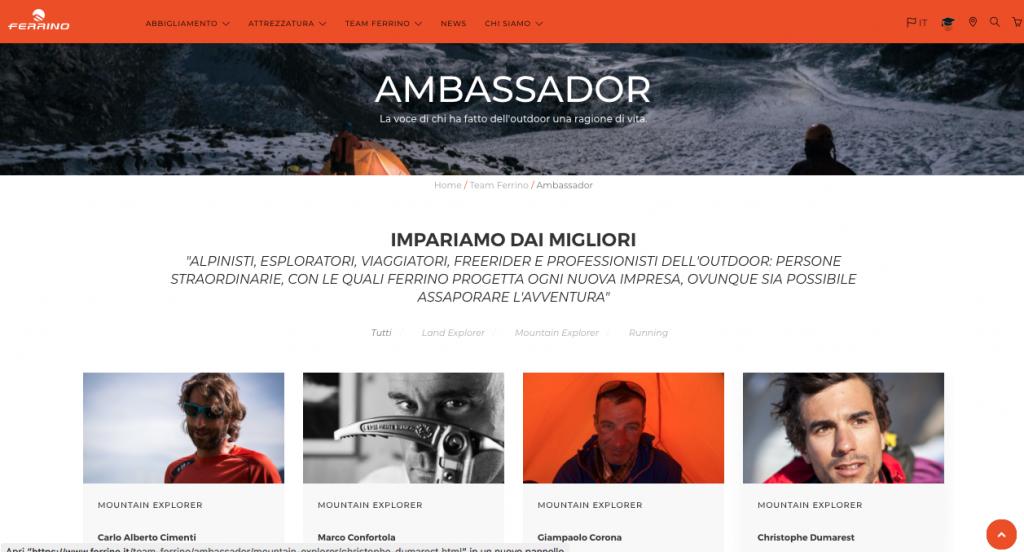 Online il nuovo portale web Ferrino 3
