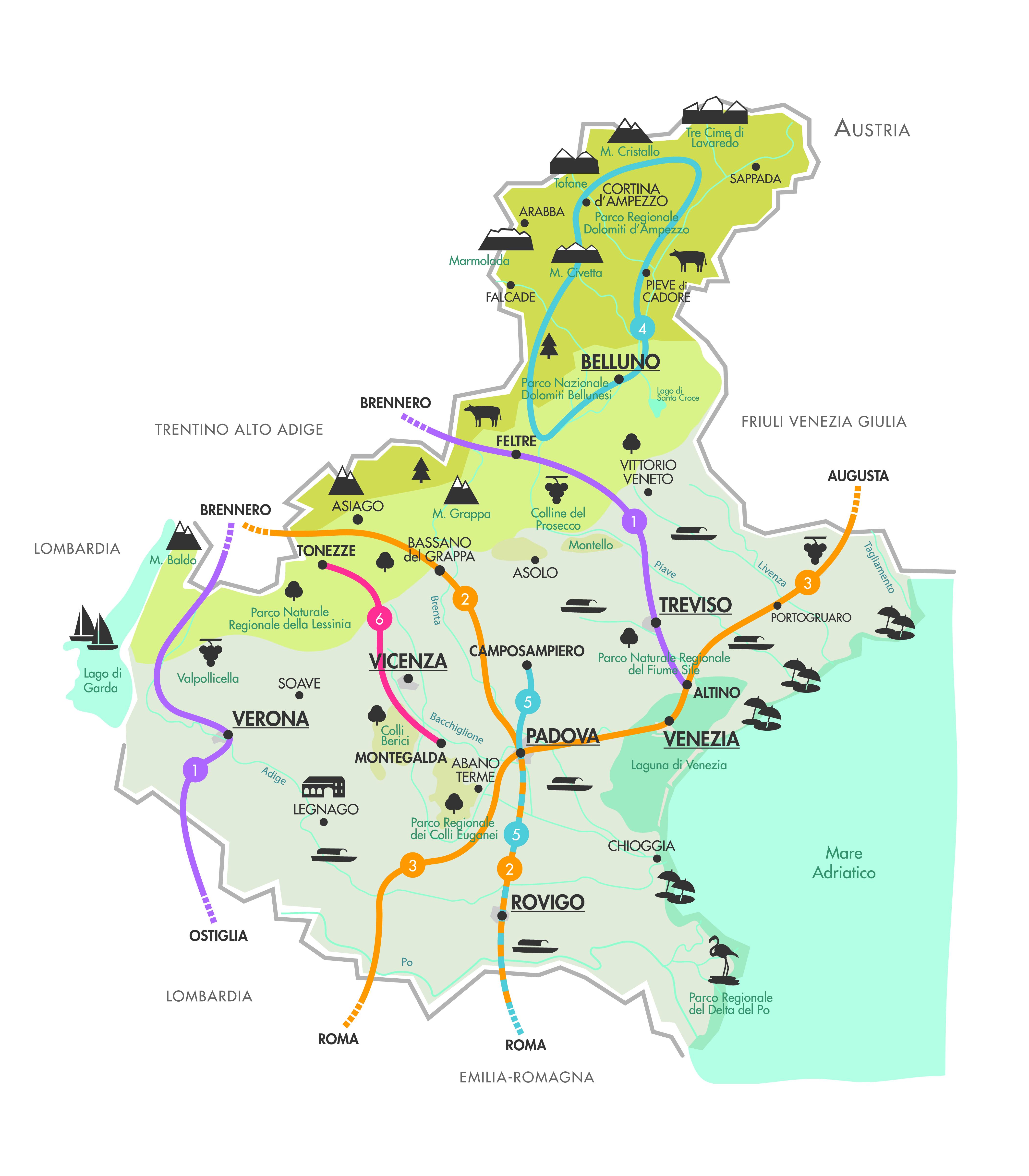 Veneto Regione Cartina.Mappa Veneto Outdoor Magazine